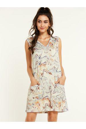 YOINS Apricot Abstract Print Pockets V-neck Sleeveless Dress