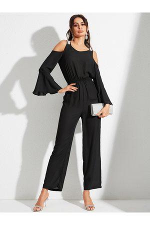 YOINS Black Cold Shoulder Bell Sleeves Drawstring Waist Jumpsuit