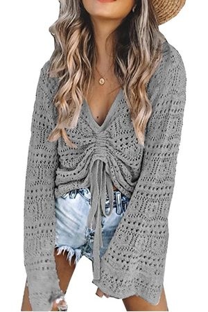 YOINS Hollow Design V-neck Long Sleeves Knit Top