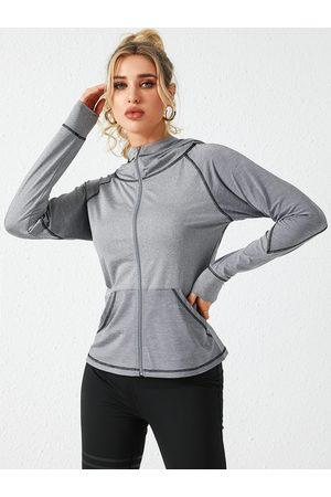 YOINS Grey Hooded Design Zip Front Botton Design Coat
