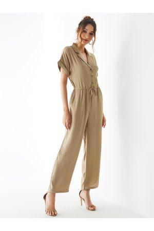 YOINS Apricot Lapel Collar Button Design Drawstring Waist Jumpsuit