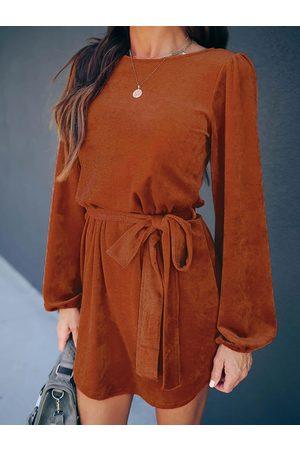 YOINS Women Midi Dresses - Belt Design Round Neck Long Sleeves Corduroy Dress