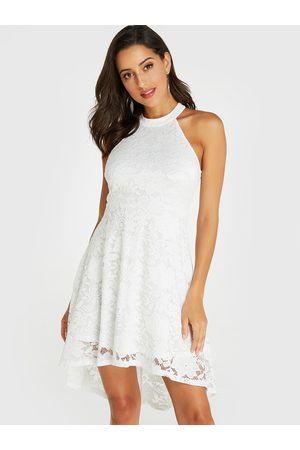 YOINS Lace Halter Sleeveless High-low Hem Dress