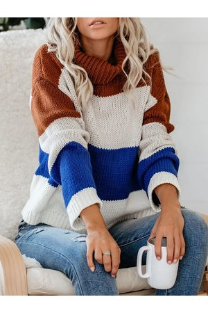 YOINS Color Block Striped High Neck Long Sleeves Sweater