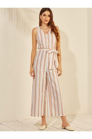 YOINS Backless Design Stripe Pattern Sleeveless Jumpsuit