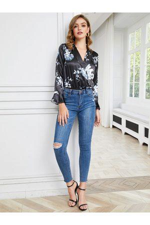 YOINS Black Wrap Design Floral Notch Collar Long Sleeves Blouse