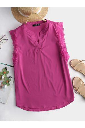 YOINS Rose Lace Hem Stand Collar Tank top