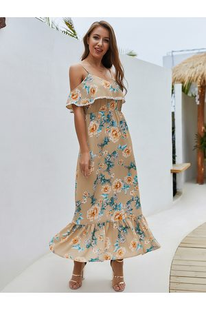 YOINS Apricot Floral Off-the-shoulder Overlay Strap Maxi Dress