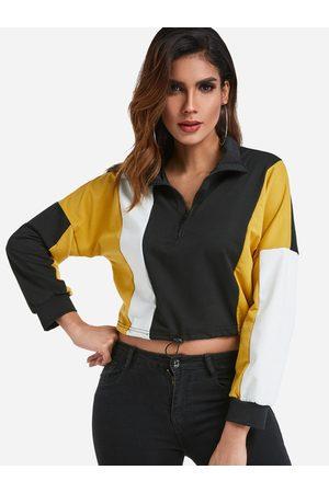 YOINS Quarter-zip Long Sleeves Cropped Sweatshirt