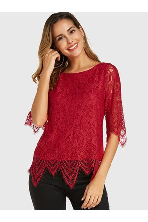YOINS Women Blouses - Lace Round Neck Half Sleeves Blouse