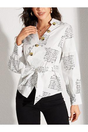 YOINS White Belt Design Letter V-neck Lantern Sleeves Blouse