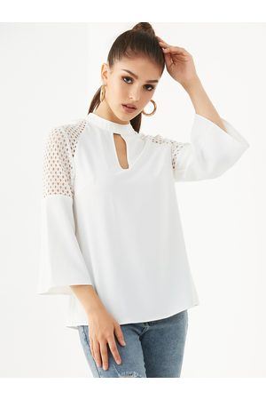 YOINS Chiffon Cut Out Stand Collar Bell Sleeves Blouse