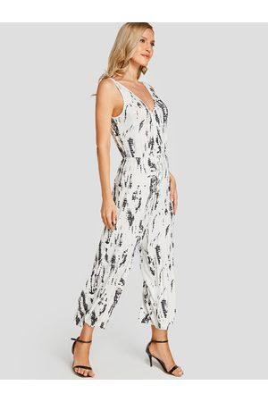 YOINS Backless Design Tie-Dye Sleeveless Loose Waist Jumpsuit