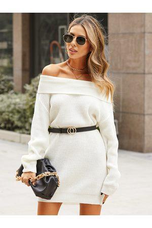 YOINS White Off the shoulder Bodycon Hem Dress
