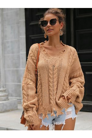 YOINS Cable Knit V-neck Long Sleeves Sweater