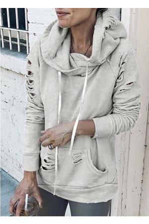 YOINS Women Jumpers - Grey Random Ripped Drawstring Pullover Hoodie