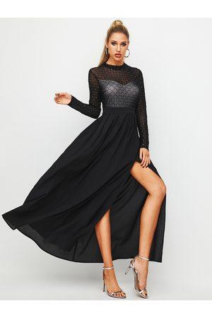 YOINS Black Mesh Plaid Slit Design Long Sleeves Dress