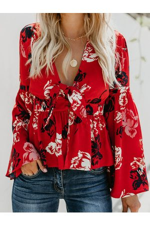 YOINS Button Design Tropical Deep V Neck Knotted Bell Sleeves Blouse