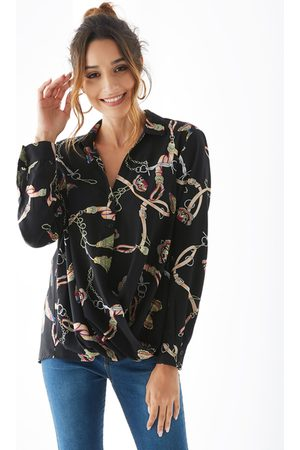 YOINS Classic Collar Front Button Crossed Front Blouse