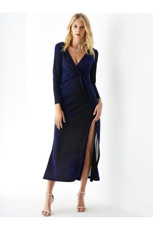 YOINS Deep V Neck Slit Design Twisted Dress