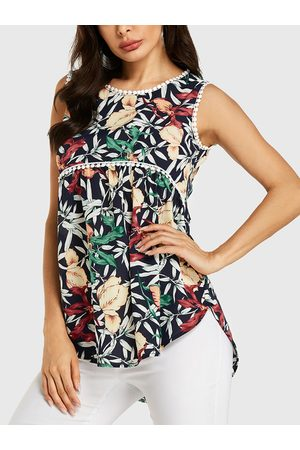 YOINS Women Tank Tops - Random Floral Print Lace Details Sleeveless Top