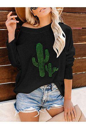 YOINS Graphic Cactus One Shoulder Knit Top