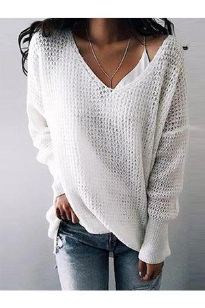 YOINS Beige V-neck Long Sleeves Sweaters & Jumper