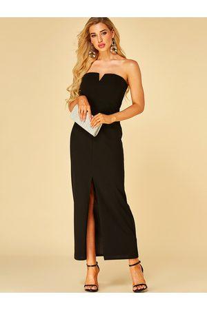 YOINS Strapless Slit Hem Maxi Dress