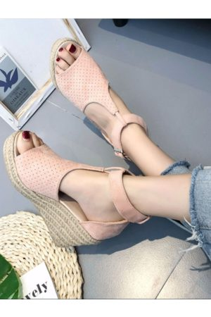 YOINS Elegant Peep Toe Metallic Buckle Wedges Sandals