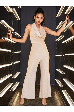 YOINS Beige Glitter Backless Design Sleeveless Tight Waist Jumpsuit