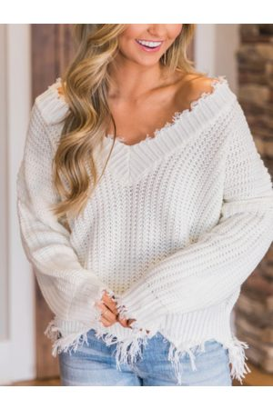 YOINS Tassel Details V-neck Long Sleeves Sweater