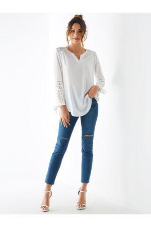 YOINS Lace Insert V-neck Long Sleeves Blouse