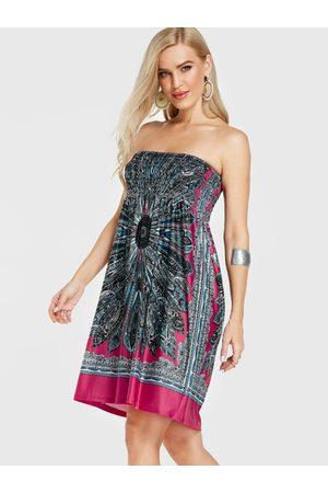 YOINS Rose Strapless Tribal Print Shirring Dress
