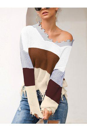 YOINS Color Block Stripe Random Ripped Knit Sweater