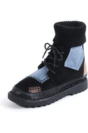 YOINS Color Block Lace-up Boots