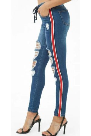 YOINS Random Ripped Details Stretch Waistband Denim Jeans