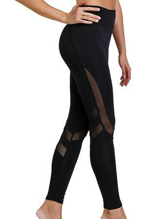 YOINS Black Mesh patchwork Leggings