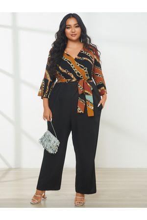 YOINS Plus Size V-neck Belt Design Wrap Design 3/4 Length Sleeves Jumpsuit