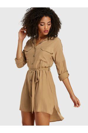 YOINS Belt Design Button Front Classic Collar Dress