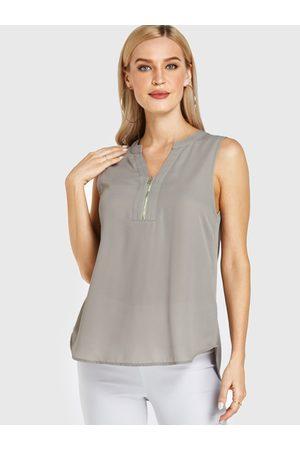 YOINS Zip Design V-neck Sleeveless Top