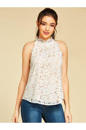 YOINS Lace Button Design Halter Sleeveless Top