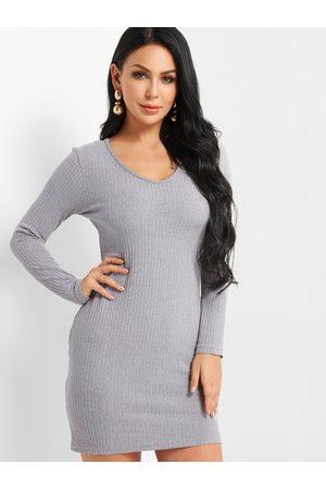 YOINS Plain Sweater Pencil Dress