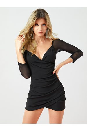 YOINS Black Backless Wrap Design With Mesh Patchwork Dress
