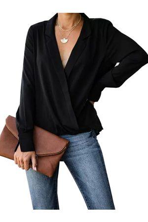 YOINS Wrap Design Notch Collar Long Sleeves Blouse