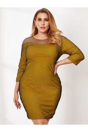 YOINS Plus Size Crew Neck Patchwork 3/4 Length Sleeves Mini Dress