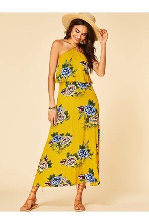 YOINS Floral Print Backless Design Halter Double Layer Sleeveless Loose Waist Dress