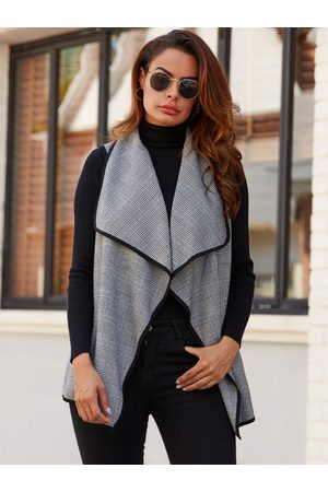 YOINS Lapel Collar Check Waistcoat