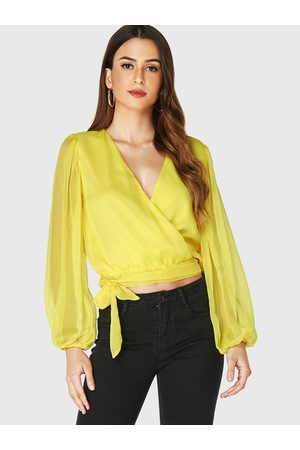 YOINS V-neck Crossed Front Knotted Lantern Sleeves Blouse