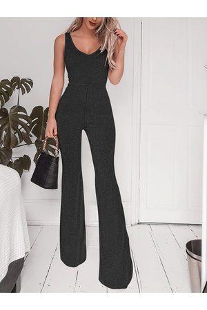 YOINS Black Wide Leg Sleeveless Jumpsuit
