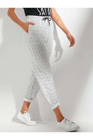 YOINS White Side Pockets Stripe Drawstring Waist Pants